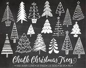 Ähnliche Artikel wie Tafel-Weihnachtsbaum-ClipArt. Handgezeichnete Kreide weihnachtlichen Illustrationen. Weiß Doodle Winter Clipart für Geschenkanhänger, DIY Grußkarten. auf Etsy