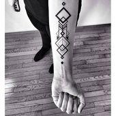 Cool geometric square totem design temporary tattoo sticker