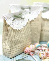 Kleine DIY-Tütchen aus Zeitungspapier… via Desi…