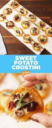 Sweet Potato Crostini are the low-carb way to get your cranberry brie fix. Get t…