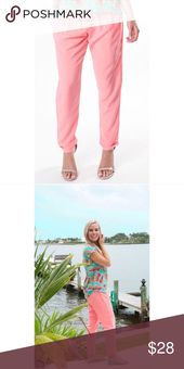 LOVE these Comfy coral drawstring pant! Comfy jogger style pant with cuffed hems…