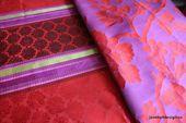"Designers Guild, ""Perrault Vermillon"" Manuel Canovas "" Angelique"" 54″ x 96″, Silk Curtain Panels, Red and Purple"