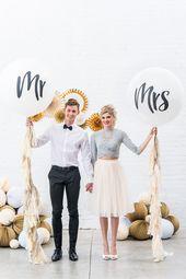 Extra Large 36″ White Round Wedding Balloons – Mrs – Set of 3 – Eee