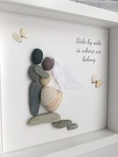 Wedding picture frame, Wedding Pebble Picture, Personalised wedding picture, Wedding Gift, Wedding frame gift