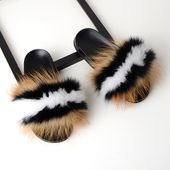 Zdfurs women fur slippers real fox fur beach sandal shoes fluffy comfy furry flip flopsmore customed