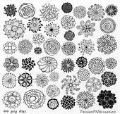 ¡SISTEMA GRANDE! Elemento de clipart de flores dibujado mano 44, flor, flor siluetas, png, eps, ai, vector, prediseñadas para Personal y uso comercial
