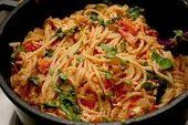 Spaghetti – tomate – feta – pan   – Essen und trinken