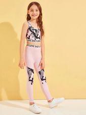 Girls Letter Tape Trim Camo Tank Top & Leggings Set
