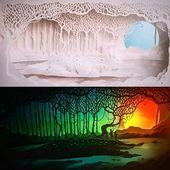 """Day/Night shot of our Book cover art for """"Tumble & Blue"""". An upcoming novel by C…   – cutting paper art"""