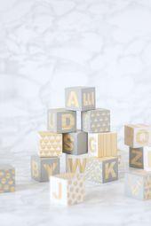 Hölzerne Baby-Blöcke Babyshower Craft / / DIY  – Babys | Kinder | Interior | Tipps & Tricks