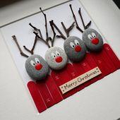 Reindeer Bild, Reindeer Kiesel Kunst, Weihnachten Kiesel Bild, Weihnachtsgeschenke, Weihnachtsdekorationen, Reindeer Geschenk, Weihnachtsdekoration