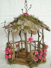 DIY Fairy Garden House Gazebo Natural Unfinished Wood Make