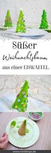 Süßer Weihnachtsbaum aus Eiswaffel – Sylvia Hawel