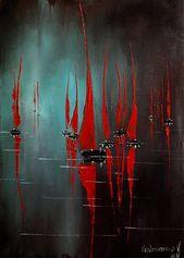 Rotes Segelgemälde Nachtmeerkunst Abstrakte Segelbootkunst Impressionismus Impasto-Ölgemälde Kleine abstrakte Malerei auf Segeltuch Moderner Innenraum
