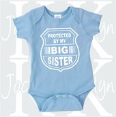 Baby Shower Songs Protected by my big sister custom one piece by JocelynKDesigns