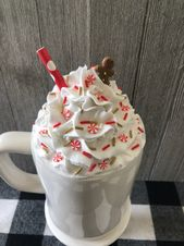 Gingerbread man faux Whipped Cream Mug Topper. Each mug topper is handmade, pain…
