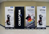 Retractable banner stands with vinyl graphics created for Creaform. #technology #technology #banner
