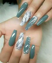 20+ Trendy and attractive marble coffin nails design