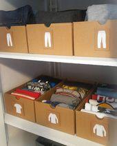Kleidung für Kinder geeignet und übersichtlich mit Kartons geordnet. Ausgezeichnet!