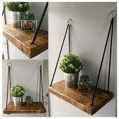 Rope Shelf – Hanging Shelf – Gold Strap – Scaffold Board Shelves – Rustic Rope Shelf – Wooden Shack …