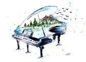 Aquarell Klavier mit der Natur – Print von meinem Originalgemälde – Musikinstrument – Aquarell Klavier – Kinderzimmer Kunst – Wandkunst – Kunstdruck