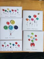 Button Handmade Birthday Cards에 대한 이미지… – #Birthday #Button #Playing cards…