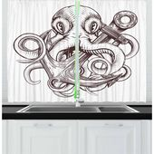 East Urban Home Ambesonne Anchor Kitchen Curtains, Monochrome Octopus Tattoo Art Style Naval Sketch Mythical Kraken Beast Design, Window Drapes 2 Pane