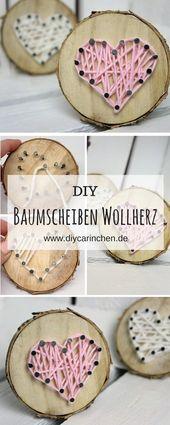 DIY Tree Disc mit Herz in String Art machen es einfach   – Alle DIYs von DIYCarinchen