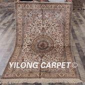 YILONG 4'x6' Tabriz silk carpet durable va…