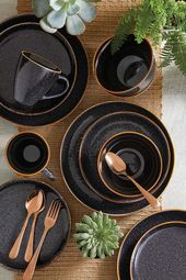 Better Homes & Gardens 16-Piece Burns Speckled Dinnerware Set, Black – Walmart.com