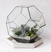 Geometric indoor planter box, stained glass air plant / succulent terrarium container, indoor garden florarium pot, minimalist display case