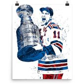 Mark Messier New York Rangers Poster, Sports Art Print, Hockey Poster, Kids Decor, Man Cave
