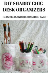 DIY Shabby Chic Desk Organization
