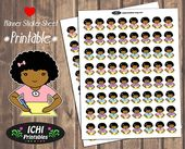 Writing Printable Planner Stickers, Girl Writing Stickers, Black Girl, African American Girl, Kawaii Afro, Literature, Functional Stickers