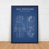 LEGO Blueprint Art Download, LEGO Minifigurendruck, Lego Poster, Lego Spielzeug, Kinderzimmer …   – Lego Ideen