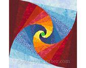 Mind's Eye quilt block, paper pieced quilt patterns, instant download PDF pattern, twisted log cabin modern geometric quilt block patterns