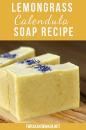 Lemongrass Calendula Soap (research on natural dyes in cold process soap)   – Soaps