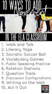 10 Methods to Add Motion within the ELA Classroom