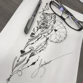 Kunst geschaffen von Luciano Tatuador. Zeichnung des Wolfes in fineline. #art #arte #tatto …  #fineline #geschaffen