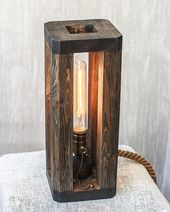 Industrial lamp Table light Wood light fixture for bedroom Nightstand lamp Edison light Wood lamp Minimalist lamp Rustic lamp EU_USA_AU PLUG