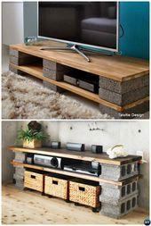 DIY Cinder Block Fernsehstandplatz Console-10 DIY Betonblock-Möbelprojekte