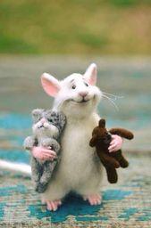 MADE TO ORDER! Ratte und Katze Rat mit den Fingern Rat und tragen White Ratte Felt Ratte Doll Cute Ratte Cute Maus Rat und Bär Maus mit den Fingern Katze Rat