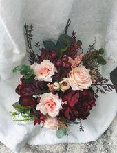 Hochzeitsstrauß Burgunder Rote Pfingstrose Eukalyptus Hochzeit Kastanienbraun Paket Handgemachte Künstliche Kunstblume   – Necaise Wedding❤️