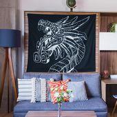 Quetzalcoatl Wall Tapestry, Lightweight Fabric Hanging, Unique Home Decor, Housewarming, Graduation Gift