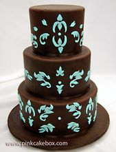 Brown and Turquoise Engagement Cake » Celebration Cakes   – Brown Turquoise