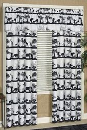 Safari Animal Procession Off White und Black Window Behandlung   – Shop By Style
