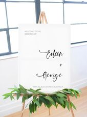 Minimalist Wedding Printable Welcome Sign, Simple Editable Template Minimal Instant Download  – Eile
