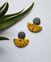 Yellow black earrings Bold mustard statement earrings Handmade polymer clay jewe…