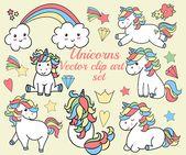 "Unicorns clipart: ""KAWAII UNICORNS"" Unicorns Ilustrations,Baby unicorns,Planner clipart,Vector clipart,Sticker graphics,Cute unicorns"