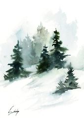 Pine bushes panorama portray, Winter panorama authentic watercolor portray, snowy nature portray by CanotStop
